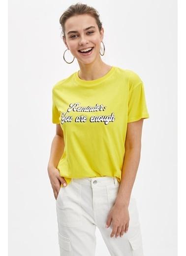 DeFacto Baskılı Kısa Kollu Tişört Sarı